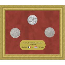 Souvenir set from commemorative medals of 2018 FIFA Final France 4 : 2 Croatia, Moscow, Luzhniki, July 15