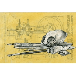 """Натюрморт с черепом"", коллаж, акрил, карандаш, 2013 г."