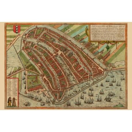 Amsterdam, Map Maker - Georg Braun &  Franz Hogenberg, 1572.