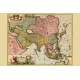 Decorative map of Asia and the East Indies, Map Maker - Nicolas Visscher, 1670.