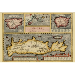 Decorative example of Ortelius' maps of Corsica, Sardinia, Crete and the Ionian Sea, Map Maker: Abraham Ortelius, 1609.