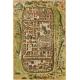 Карта Иерусалима и его окрестностей во время Иисуса Христа, картограф - Георг Браун и Франц Хогенберг, 1588 г.