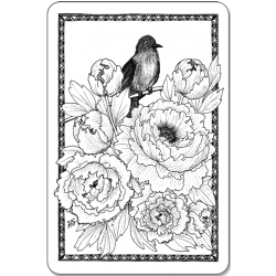 Bird and peonies