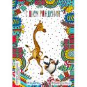 Жираф и пингвин - 3D открытка