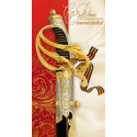 Happy Defender of the Fatherland! Sword with St. George ribbon on a red and beige background