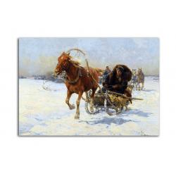 Зимняя дорога - художник Alfred Wierusz-Kowalski