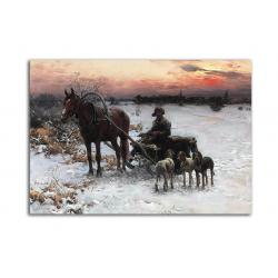 Зимний вечер - художник Alfred Wierusz-Kowalski