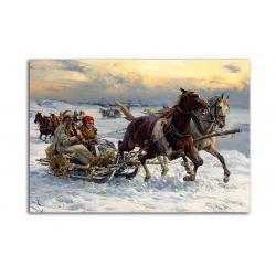 Зимний праздник - художник Alfred Wierusz-Kowalski