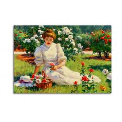 Девушка с розами - художник Gregory Harris