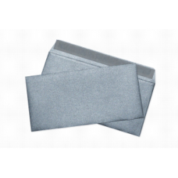 Envelopes of metallic silver E65, 110x220, 120 g / m2, designer paper, silicone tape