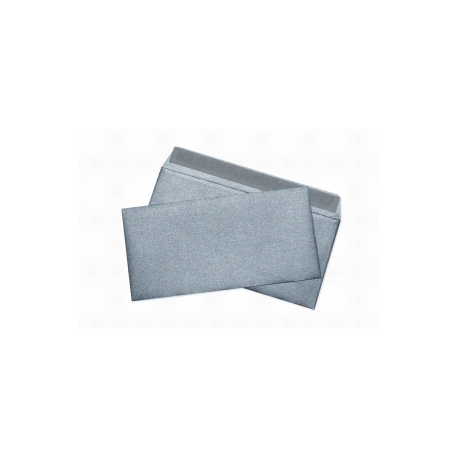 Envelopes of metallic silver E65, 110x220, 120 g / m2, designer paper, silicone tape