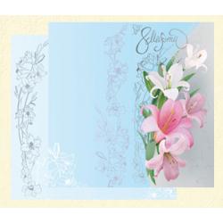 8 Марта. Лилии на серо-голубом фоне
