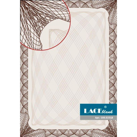 Бумага для сертификатов темно-коричневая рамка, A4, 25 шт/уп