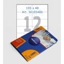 Этикетки белые,  105х48 мм, 12 шт/лист
