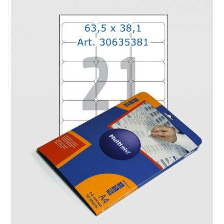 Этикетки белые, 70х67,7 мм, углы закругленные, 21 шт/лист