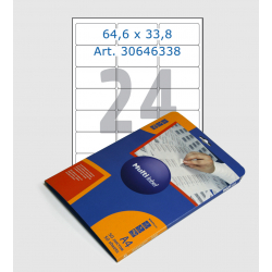 White labels, 64,3х33,8 mm, 24 pcs/sheet