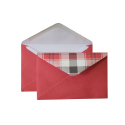 "Envelope with checkered valve C6, ""Red"""
