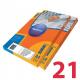Этикетки удаляемые MULTILABEL,  63,5х38,1 мм , 21 шт. на листе А4, 100 шт/уп