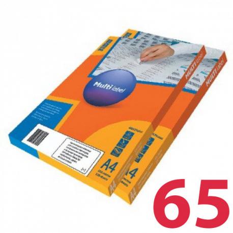 Этикетки удаляемые MULTILABEL, 38х21,2 мм , 65 шт. на листе А4, 100 шт/уп