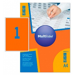 Self-adhesive color labels MultiLabel A4, orange fluoride