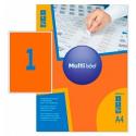 Самоклеящиеся цветные этикетки MultiLabel A4, оранжевый флюор, 50 шт/уп