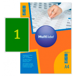 Самоклеящиеся цветные этикетки MultiLabel A4, оранжевый флюор