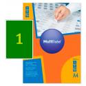 Самоклеящиеся цветные этикетки MultiLabel A4, зеленый,50 шт/уп