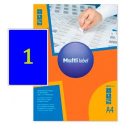 Самоклеящиеся цветные этикетки MultiLabel A4, синий, 50 шт/уп