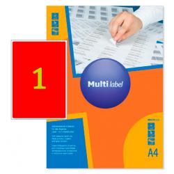 Самоклеящиеся цветные этикетки MultiLabel A4, красный, 50 шт/уп