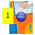 Self-adhesive color labels MultiLabel A4, yellow, pcs/pack