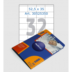 Этикетки белые, 52,5х35 мм, 32 шт/лист