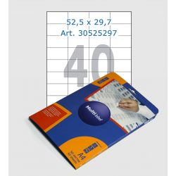 White labels, 52,5х29,7 mm, 40 pcs/sheet
