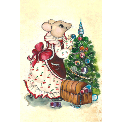 Mouse decorates the Christmas tree