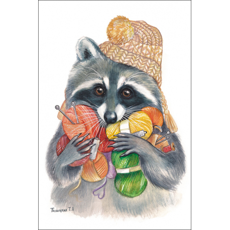 Raccoon with knitting