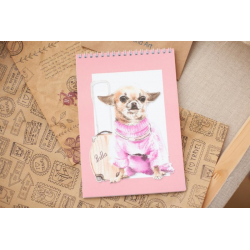 """Notebook with illustration """"Bella the Traveler"""""""