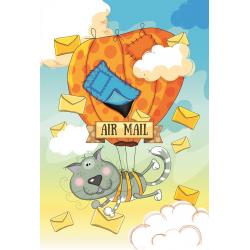 Кот-почтальон на воздушном шаре