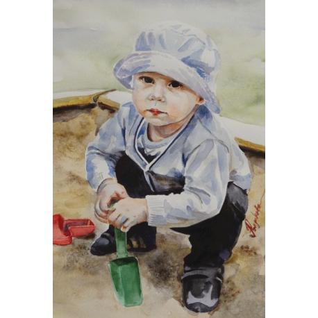 The child in the sandbox