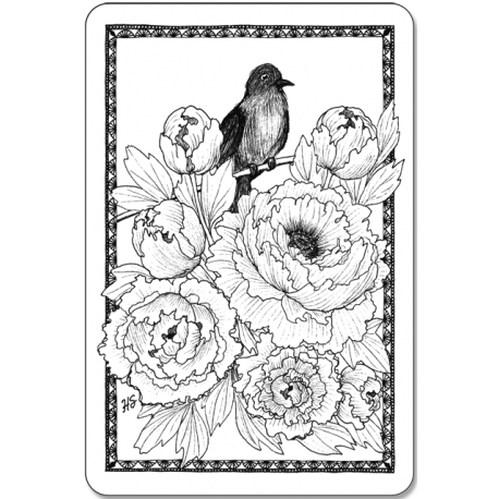Птица в пионах