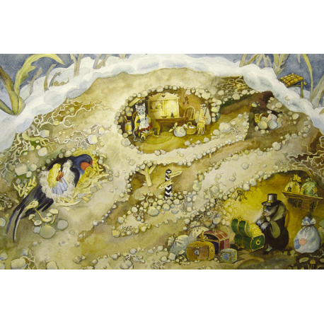 """The burrow. Illustration for fairy tale by H.Ch.Andersen """"Thumbelina"""""""